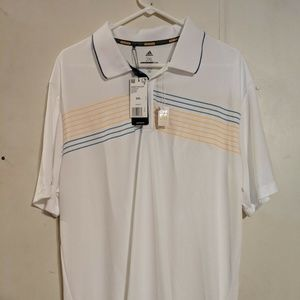 adidas Golf Mens Chest Print Polo White with Blue